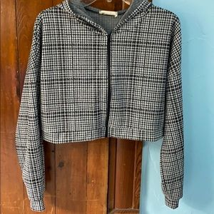 Black and white plaid crop jacket with hood